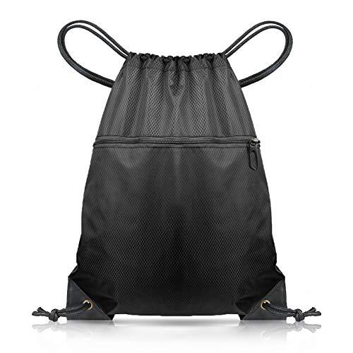 CHEPULA Drawstring Bags, Large Black Sports Backpack String Swim Drawstring...