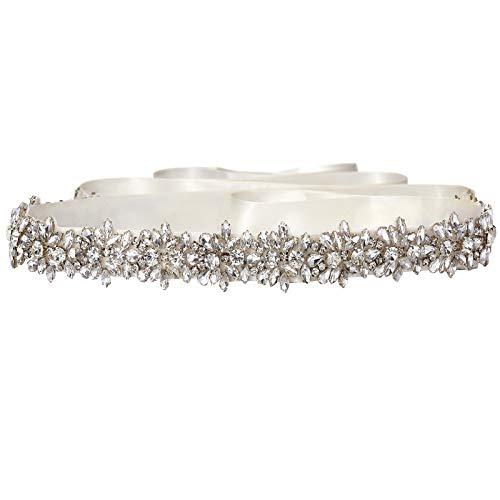 SWEETV Boda Vestido Faja Cintura Cinturón Cinta de Raso de Brillantes Diamantes...