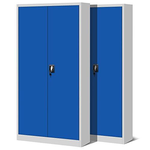 Jan Nowak by Domator24 2er Set Aktenschrank XL C001H Büroschrank Metallschrank 4 Fachböden Stahlblech Pulverbeschichtet Flügeltüren Abschließbar 195 cm x 90 cm x 40 cm (grau/blau), Metall