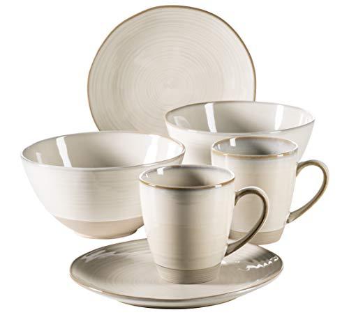 MÄSER 931370 Serie Nottingham Vintage Geschirr-Set für 2 Personen, 6-teiliges Frühstücksgeschirr mit Frühstücksteller, Kaffeetasse und großer Müslischale, Beige Steinzeug