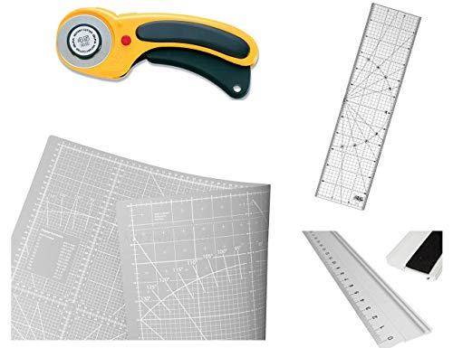 Alfombrilla de corte 124 x 93 cm + cortador circular Olfa + regla Olfa + regla de aluminio de 70 cm