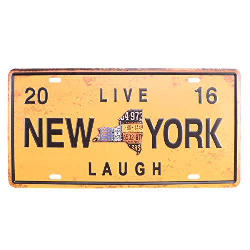 VOSAREA NEW YORK Bar Retro Resterant Decor Iron Metal Painting Signs Tin Sign Plate Wall Art Decor