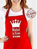Delantal cocina personalizado .con la frase:' (nombre) el Rey de la cocina, (nombre) la reina de la cocina'. Varios colores. Regalo SOLIDARIO.