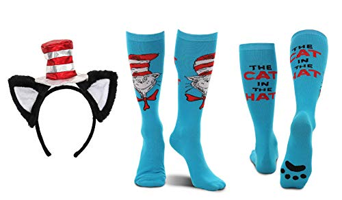 elope Dr. Seuss Cat in The Hat Deluxe Headband and Paws Knee High Costume Socks Kit Bundle