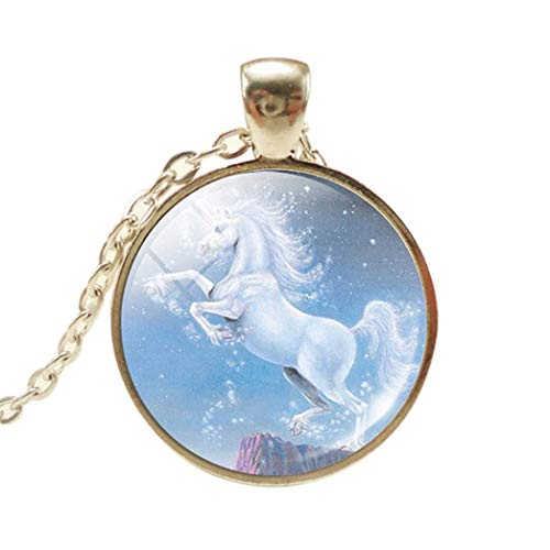 XQWR Collar con colgante de unicornio de cristal para mujeres y hombres (estilo 1)