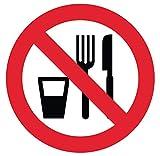 Pegatina autoadhesiva prohibida de Comer, diámetro 15...
