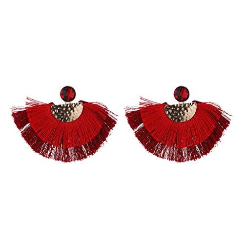 YAZILIND mujeres étnica bohemia gota colgante larga cuerda flecos orejas chica en forma de fan borla pendiente señora moda Boho joyería(rojo)