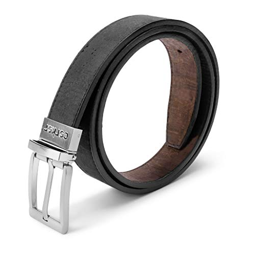Corkor Vegan Leather Belt Cork Reversible | 1 1/8 Inch (30 mm) Wide Brown Black color Medium Size