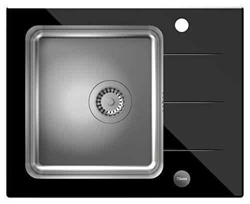VBChome - Lavandino in vetro Ford per lavello da incasso, con eccentrico e lavandino in acciaio inox spazzolato, colore: nero