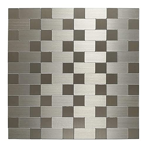 Art3d Stainless Steel Backpslash Tile Peel and Stick for Kitchen