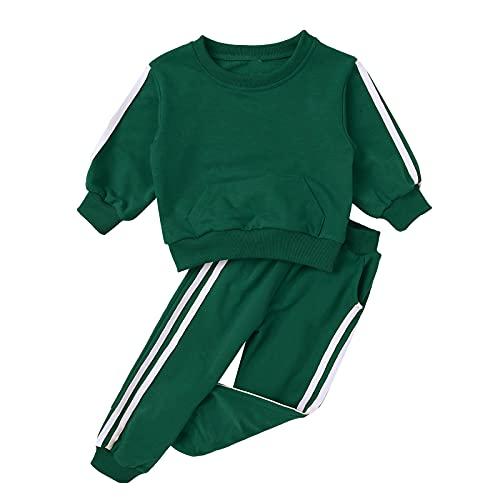 renvena Kinder Sport Kleidung Set Jungen Mädchen Trainingsanzug Jogginganzug Langarm Sweatshirts mit Hose Streetwear für Herbst Winter Grün 110-116