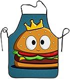 DUTRIX Delantal con Babero antisucio Ajustable Novedad de Burger King para Delantal de Cocina para cocinar, Hornear, jardinería, Fiestas
