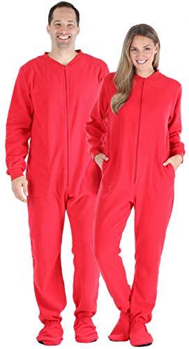 SleepytimePjs Womens Solid Red Fleece Footed Pajama, Women