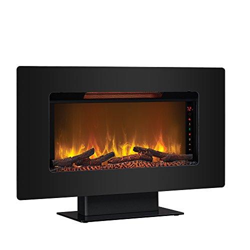 "ClassicFlame 36II100GRG Elysium 36"" Wall Mounted Infrared Quartz Fireplace, Black Glass Frame"
