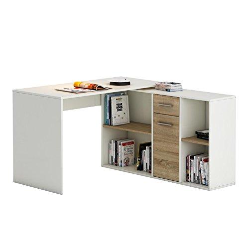 IDIMEX Schreibtisch Eckschreibtisch Carmen mit Regal 120x75x59 cm Winkelkombination in weiß/Sonoma Eiche