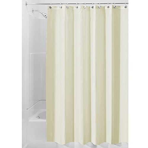 iDesign Duschvorhang aus Stoff | wasserdichter Duschvorhang mit verstärktem Saum | waschbarer Textil Duschvorhang in der Größe 183,0 cm x 183,0 cm | Polyester sandfarben
