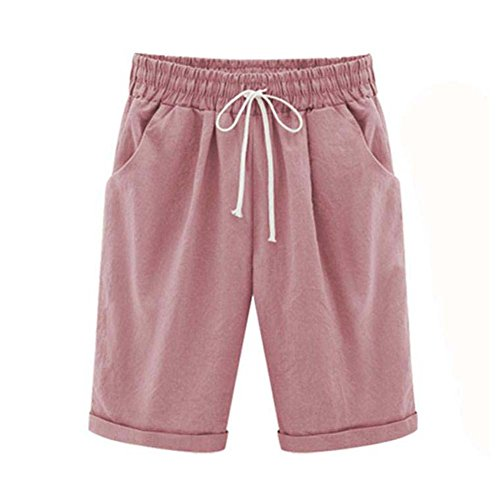 Bermuda Shorts Damen Knielang Sommer Große Größen Kurze Hose mit Gummizug Stretch Shorts Damen Sommerhose Kurz