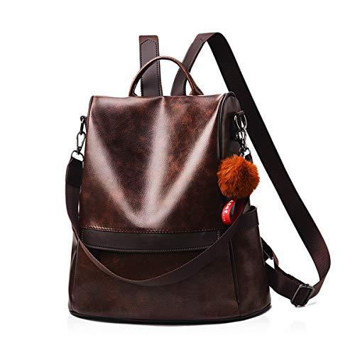NICOLE & DORIS Damen rucksack Schultertaschen für Frauen Kunst Leder Rucksack Wasserdichter Reiserucksack Tagesrucksack große Kapazität Anti-Diebstahl Kaffee