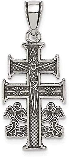 NC110 Collar con Colgante de ángel Cruzado Doble de Estilo Antiguo de Plata de Ley 925