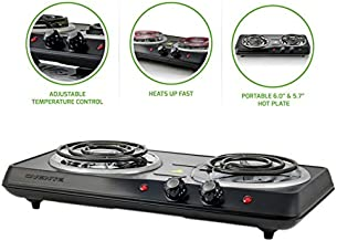 Ovente Electric Double Coil Burner 6 Inch Hot Plate with Fire Resistant Metal Housing and Adjustable Temperature Control, 1700 Watts, Indicator Light, Portable, Non-Slip Rubber Feet, Black (BGC102B)