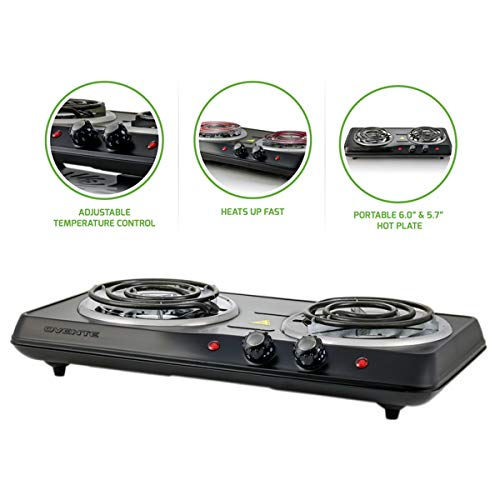 Ovente Electric Double Coil Burner 6 Inch Hot Plate with Fire Resistant Metal Housing and Adjustable Temperature Control, 1000 Watts, Indicator Light, Portable, Non-Slip Rubber Feet, Black (BGC102B)