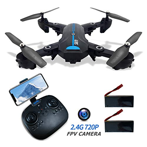 DIKOCO Foldable FPV Drone with 720P HD Camera for Adults 2.4G GPS Drone with Auto Return Home HD 120° Wide-Angle Camera WiFi Live Video RC Quadcotper for Kids Beginners 40Mins Long Flight Time