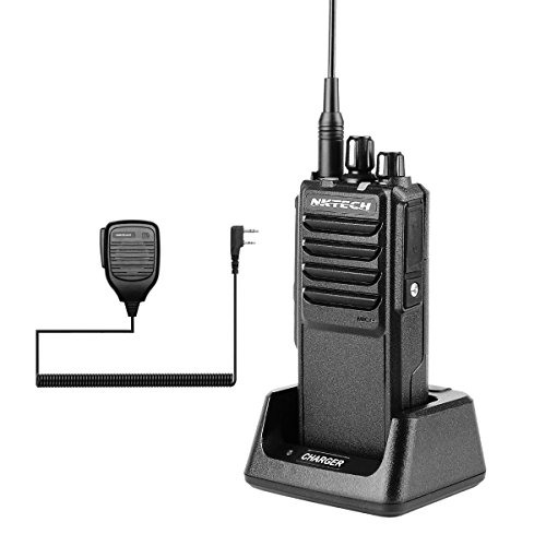 NKTECH U-25W UHF 400-480MHz Tri-Power 25W 10W 5W 10Km Range Handheld Mobile Transceptor de Jamón Walkie Talkie con 37CM High Gain Antena Accesorios (Negro con NK-S112 Altavoz Mic)