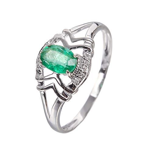 Daesar 18 Karat Gold Ring Damen Oval Grüner Jade Hochzeitsring Weißgold Ring mit Diamant Große 62 (19.7)