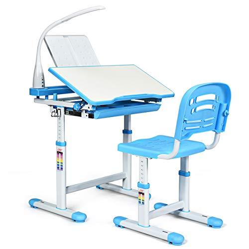 DREAMADE Kinderschreibtisch-Set Neigungs- und Höhenverstellbar, Kindertisch Schreibtisch mit Stuhl und Tischlampe, Schülerschreibtisch Computertisch Schreibtisch Set für Mädchen Jungen (Blau)