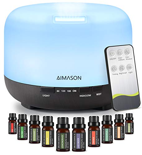Essential Oil Diffuser Set, AIMASON 500ml Ultrasonic Aroma Oils Diffuser Gift Set with 10 * 10ml Essential Oils with Remote Control,4 Timer Setting, 7 Colour Lights & Auto Shut-Off