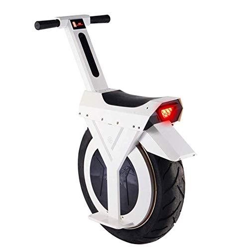 HIGHKAS Monociclo eléctrico, 17 '60V/500W, Scooter eléctrico con Altavoz Bluetooth, E-Scooter, Gyroroue Unisex Adulto, Blanco, 60KM
