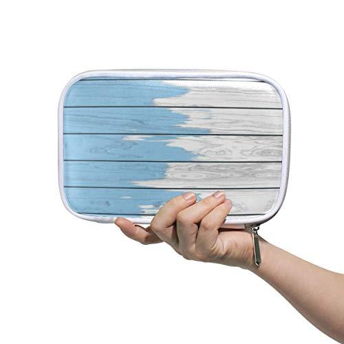 Studenten Federmäppchen Beutel Pudel Rock Muster Rot Blau Weiß PU Leatehr Organizer Stifthalter Box Frauen Geldbörse Brieftasche Wasserdichte Große Kapazität Hand Mini Kosmetik Make-up Tasche