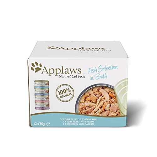 Applaws Natural Wet Cat Food, Multipack Fish Selection in Broth 70 g Tin (Pack of 12)