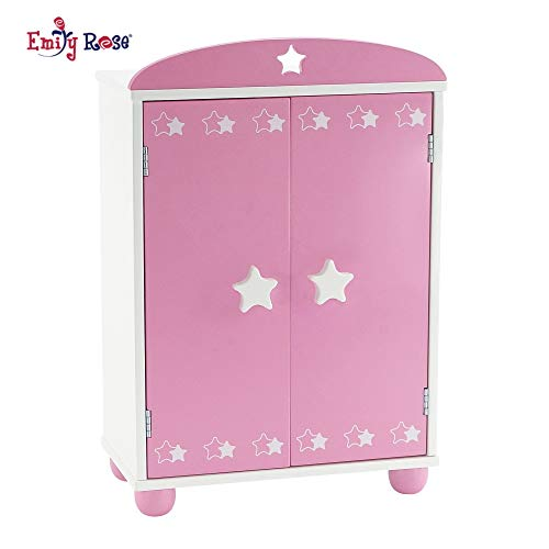 Emily Rose 14 Inch Doll Furniture | Beautiful Pink and White Armoire Closet with Star Detail Comes with 5 Doll Clothes Hangers | Fits American Girl Wellie Wisher Dolls