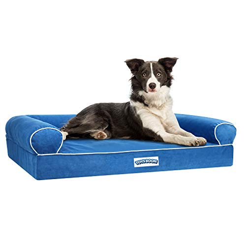 TOYSBOOM Orthopedic Dog Bed Memory Foam -Dog Couch Bed with Ergonomic Bolster Comfortable Mattress, Waterproof DogChaise Lounge Bed with RemovableWashable Cover, Pet Sofa for Large Dogs and Cats