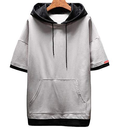 JHIJSC パーカー メンズ 半袖 無地 夏 tシャツ ゆったり 薄手 おしゃれ おおきいサイズ (グレー, XL)