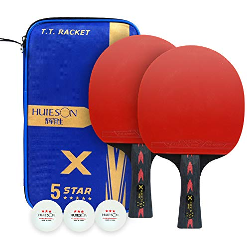 Lowest Price! HUIESON 2Pcs 5 Star Carbon Table Tennis Racket Set FL Long Handle Shakehand Grip Light...
