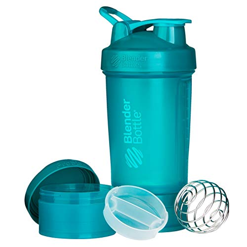 BlenderBottle C01715 ProStak System with 22-Ounce Bottle and Twist n' Lock Storage, Teal