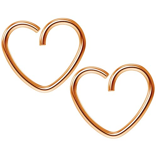 2pc 18g 1mm 10mm Seamless Rose Gold Heart Hoop Earrings Cartilage Bar Tragus Helix Conch Auricle Adjustable