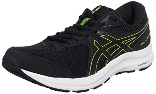 Asics Gel-Contend 7, Road Running Shoe Hombre, Black/Hazard Green, 40.5 EU