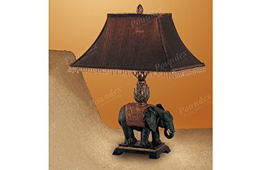 Poundex PDEX-F5231 Table Lamp with Elephant Design Meatl in Dark Chocolate Finish
