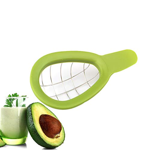 Bseka Avocado Cutter Tool, Kitchen Avocado Slicer Stainless Steel Safety Fruit Cutter Perfect for Avocado Toast and Guacamole, Dice & Cube Avocados with Ease (Green)
