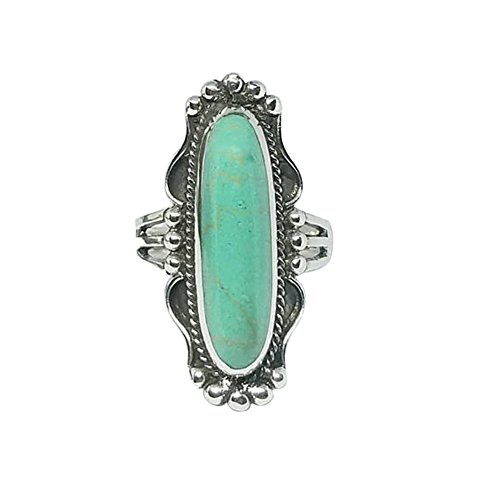wirlsweal Ring, Vintage Finger Decor Oblong Turquoise Ring Women Wedding Engagement Jewelry Gift for Lover Wife Close Friends Turquoise US 10