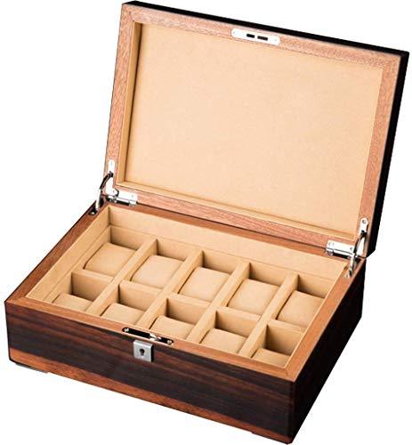 Montre Boîte de rangement pour présentoir à 10 emplacements Boîte de rangement pour présentoir Verrouillable et détachable Tapis à bijoux Boîte à bijoux Présentoir avec souvenir Taille: 31.5x21.8x12cm