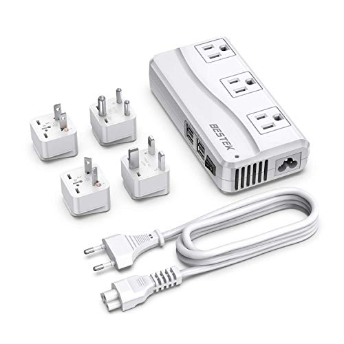 BESTEK Universal Travel Adapter 100-220V to 110V Voltage Converter 250W with 6A 4-Port USB Charging 3 AC Sockets and EU/UK/AU/US/India Worldwide Plug Adapter (White)