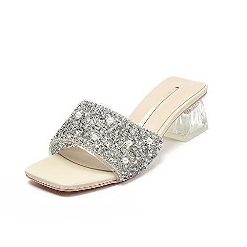 Zapatillas de Cristal Sandalias de Moda de Verano para Mujer Brillante y cómodo Heel Altura de talón 4.5 cm Verano. (Color : White, Size : 35 EU)