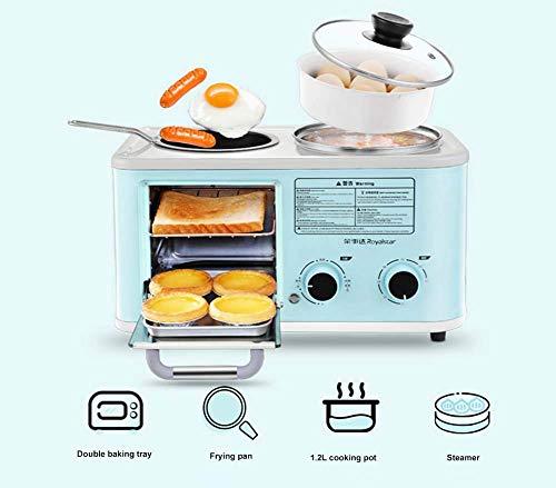 L.TSA Küche Elektrisch 3 in 1 Haushalt Frühstücksmaschine Mini Brot Toaster Backofen Omelett Bratpfanne Kochtopf Food Steamer, Blau