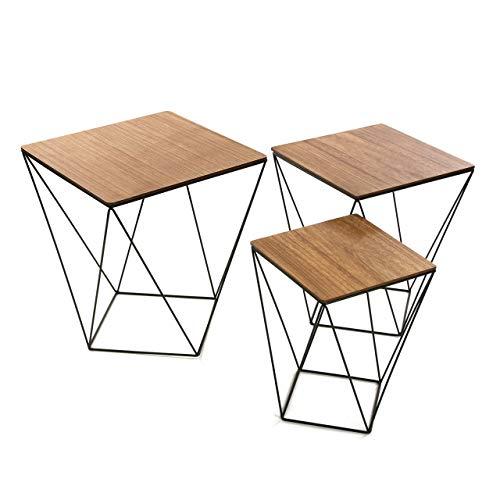 Versa 20850012 Set drie tafels 50 x 45 x 45 cm, hout, decoratie, nachtkastje