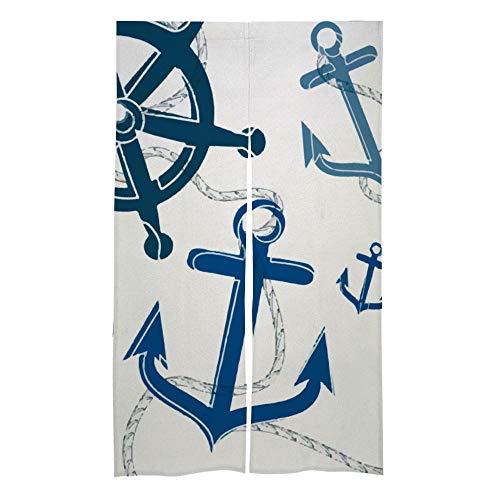 happygoluck1y Nautisches Boot-Anker-Rad maritimer Tür-/Fenster-Vorhang, Fenster-Behandlung, Türvorhänge, Fenstervorhänge, 2 Stück, für Schlafzimmer, Wohnzimmer