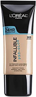 Loreal paris up to 24 HR foundation infallible pro glow normal/ dry skin 203 nude beige